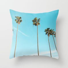 Buy Palm Trees with Blue Throw Pillow by lostmarketplace. Worldwide shipping available at Society6.com. Just one of millions of high quality products available.