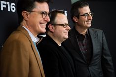 Stephen Colbert, Tom Hall and John Oliver arrives at the Post-Election Evening to Benefit Montclair Film Festival at NJ Performing Arts Center on November 19, 2016 in Newark, New Jersey.
