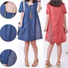 Square Collar Plus Size Clothing Women Candy Color Embroidery Casual Cotton Dresses Woman Linen Loose Cute Summer Dress 2014