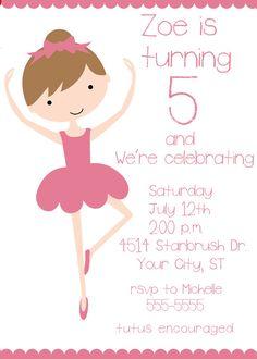 Ballerina Child's Birthday Party Invitation by celebrationspaperie
