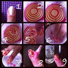 Watermarble tutorial Here's the first tutorial of my watermarble nails.  (1.) Place white nail polish as base color.  (2.) On a small cup with water, make a drop of nail polish until you have a small bullseye. Note: let the nail polish spread into the water and drop the nail polish one color after another.  (3.) From the edge of the bullseye, drag the nail polish out on two sides with toothpick or needle.  (4.) Swirl one side and the other to have two nails done. ( I did not create the…