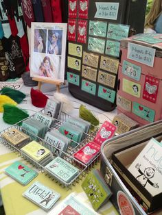 My Beckamade Craft Show Booth Set Up from Minot Vintage Fair. Magnet display using utensil drawer organizer, baking pan, and mini play fridge.