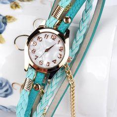 Newest Fashion Women Leather Strap Braided winding Rivet Bracelet Watches Women Dress Quartz Wristwatch Girl Gift