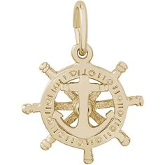 Small Anchor & Ships Wheel Charm - Gold Plated