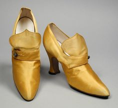 Pair Of Woman's Pumps Made Of Silk Satin And Leather By E. J. Costa & Sons - Paris, France   c. 1918 The Los Angeles County Museum of Art