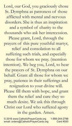 St. Dymphna Prayer Card