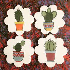 Cactus Y Suculentas, Ceramic Painting, Bowser, Decoupage, Coasters, Succulents, Crafts For Kids, Clip Art, Hand Painted