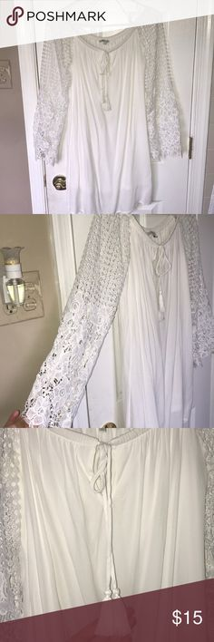 Charlotte Russe size S white lace dress Off the shoulder white lacy dress! Size S, fits true to size. Worn only once to my high school graduation.. bought for $30 selling for $15! Charlotte Russe Dresses Strapless
