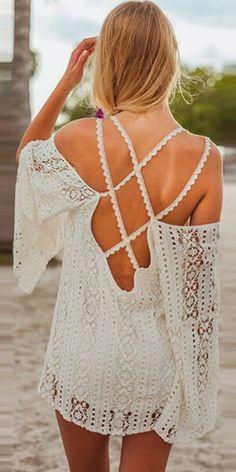 Sexy Backless Lace Beach Dress Bikini Smock