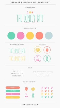 The Lonely Bite Premade Branding Kit - - Web Design, Website Design, Design Blog, Logo Design Inspiration, Graphic Design, Branding Kit, Kids Branding, Branding Companies, Colorful Branding