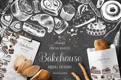 Bakery Menu Design by Yevheniia on Graphic Design Templates, Vector Design, Bakery Menu, Bakery Logo, Bread Packaging, Drink Photo, Hand Sketch, Bread And Pastries, Menu Design