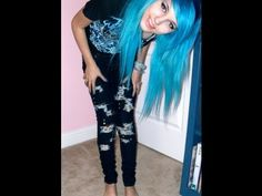 DIY ripped jeans emo style