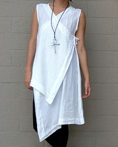 BRYN WALKER Flax Light Linen ZEN VEST Lagenlook Artsy Duster