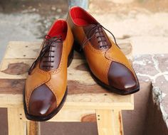 Handmade Men's Tan & Brown Leather Lace Up Dress Shoes,Men Leather fashion shoes