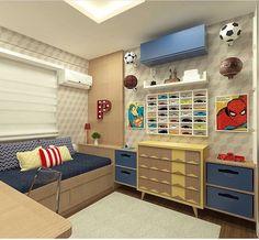 Bom dia meus amores com essa inspiração de quarto todo na madeira com tons em azul e amarelo. Amo! Autoria da arquiteta Marília Zimmerman | @decorcriative