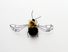 Embroidered copper wire Bee from 'A Cabinet of Natural Curiosities' by Eleanor Rose Textiles