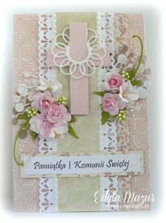 Pastel with pink roses - Souvenir Holy Communion Juliet - Scrapbook.com