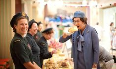 Call the Midwife series three: Chummy (Miranda Hart) eats a giant cake and the nuns have a giggle on set