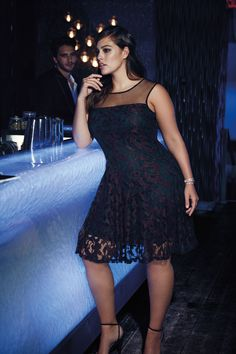 New Noir burgundy lace dress with mesh inserts from Addition Elle Holiday 2015 plus-size fashion