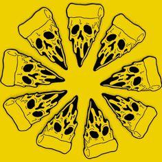 If i was snow white, the wishing pizza! Body Art Tattoos, Tattoo Drawings, Art Drawings, Skull Pizza, Pizza Tattoo, Illustrations, Illustration Art, Pizza Art, Spooky Tattoos