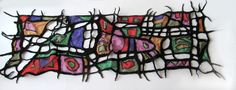 Nuno felted scarf Picasso art scarf stained-glass by galafilc