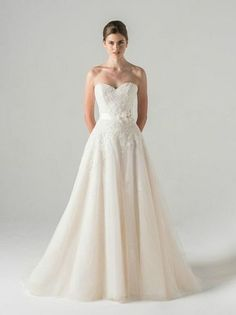 Sweetheart A-Line Wedding Dress  with Dropped Waist in Alencon Lace. Bridal Gown Style Number:33257064
