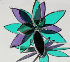Purple and Teal Stained Glass 3D Flower Suncatcher In by LAGlass