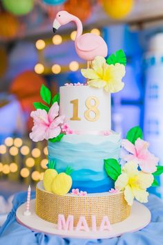 Tropical Flamingo Cake from a Surf & Summer Birthday Pool Party