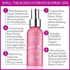 All profits from the sales of our limited edition Smell The Roses Hydration Spray go to Living Beyond Breast Cancer. Smell The Roses Hydration Spray contains relaxing Rose Damascena Flower Water and essential oils to cleanse the skin as well as provide aromatherapy benefits.