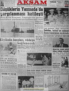 Akşam gazetesi 20 temmuz 1960 Turkey Country, Ottomans, Nostalgia, Memories, History, Life, Memoirs, Souvenirs, Historia