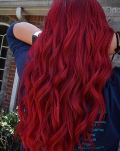 Red Hair Crimson Red Vibrant Bright Fun Hair Color Guy Tang Mydentity Olaplex Inspiration Ideas How To Red Hair Color, Red Color, Cool Hair Color, Guy Tang, Bright, Cool Hairstyles, Long Hair Styles, Beauty, Ginger Hair