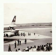 Vintage 1960s B&W Photo Snapshot Swissair DC-8 Airplane People Boarding