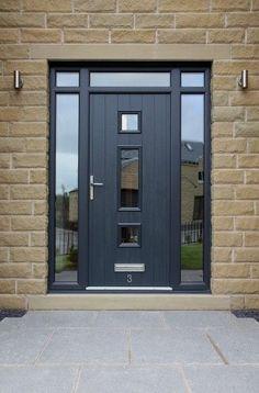 Grey windows, front doors with windows, porch doors, front door porch, fron Front Door Porch, Grey Front Doors, Porch Doors, Modern Front Door, Front Door Entrance, House Front Door, Front Door Design, Glass Front Door, Entry Doors