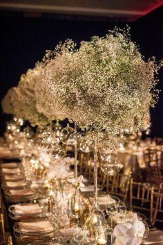 Photographer: Davina + Daniel; Luxury green, white and gold wedding reception centerpiece;