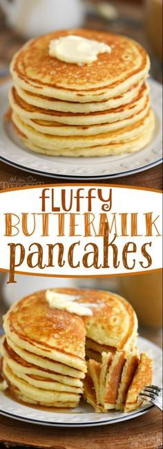 pancake easy The BEST Fluffy Buttermilk Pancakes youll ever try! Pancakes are the quintessential weekend breakfast and theyve never been easier to make OR more delicious. This easy to recipe yields totally amazing pancakes every time! // Mom On Timeout Breakfast Pancakes, Pancakes And Waffles, Breakfast Dishes, Best Breakfast, Breakfast Recipes, Dessert Recipes, Pancake Recipes, Dinner Recipes, Breakfast Ideas