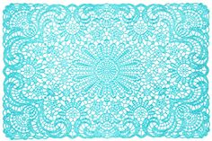 BLUE VINYL LACE PLACEMAT - Here's the perfect way to add a little bit of color to any table top!  This blue vinyl placemat looks like lace but is so much easier to clean. These are the perfect way to dress up any table in the house.