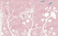 Casart coverings_Chinoiserie Murals desat-dusty rose Combo_temporary wallpaper