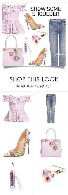 """Show some shoulder"" by elli-argyropoulou ❤ liked on Polyvore featuring Caroline Constas, GRLFRND, Betsey Johnson, Obsessive Compulsive Cosmetics and Cadeau"
