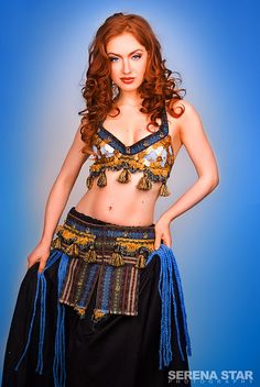 Blue and Gold coin Tribal Bellydance Costume