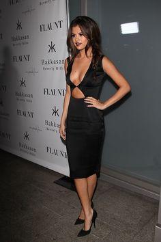 Selena Gomez black cutout dress #fashion