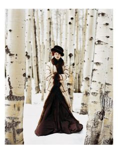 Vogue - October 1999, photographed by Arthur Eliot, Crown Canadian-sable coat by Suki Furs, skirt by Jean Paul Gaultier