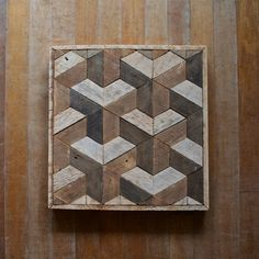 Reclaimed Wood Wall Art Decor Lath Geometric by EleventyOneStudio