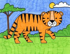 Giraffes Tiger Drawing For Kids, Drawing Pictures For Kids, Cartoon Drawing For Kids, Drawing Lessons For Kids, Easy Drawings For Kids, Cartoon Drawings, Art Lessons, Art For Kids, Draw Animals For Kids
