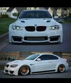 BMW E92 M3 White Widebody Slammed