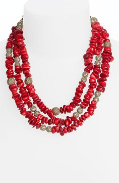 St. John Collection Coral & Crystal Bead Necklace available at #Nordstrom