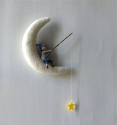 Waldorf inspired needle felted mobile MoonMoM with Angelboy fishing for starS by lovebluecats