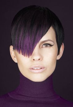 Colored Bangs Hairstyles - What could be more fun then getting vibrant colored streaks into your bangs? Colored bangs hairstyles are easy to get, maintain and get rid of. Get inspired for your colored bangs hairstyles and learn how to wear them. Plum Hair, Violet Hair, Dip Dye Hair, Dyed Hair, Dip Dyed, Short Hair Cuts, Short Hair Styles, Pixie Cuts, Hair Color Purple