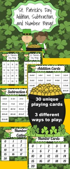 This product contains 30 different bingo cards. It also contains 3 different sets of calling cards to differentiate by ability. One set is for addition bingo, one set is for subtraction bingo, and one set is for number bingo. The set also contains a card to mark which numbers have already been called. Bingo cards contain numbers 0-20.