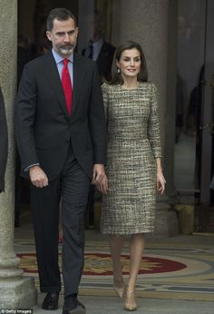 Letizia leaves the event on Monday with her husband King Felipe VI, who she married in 200...