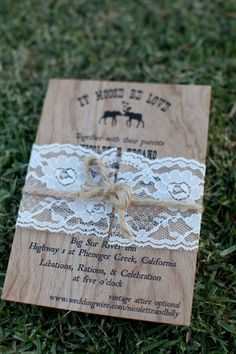 Rustic, country invite with lace.